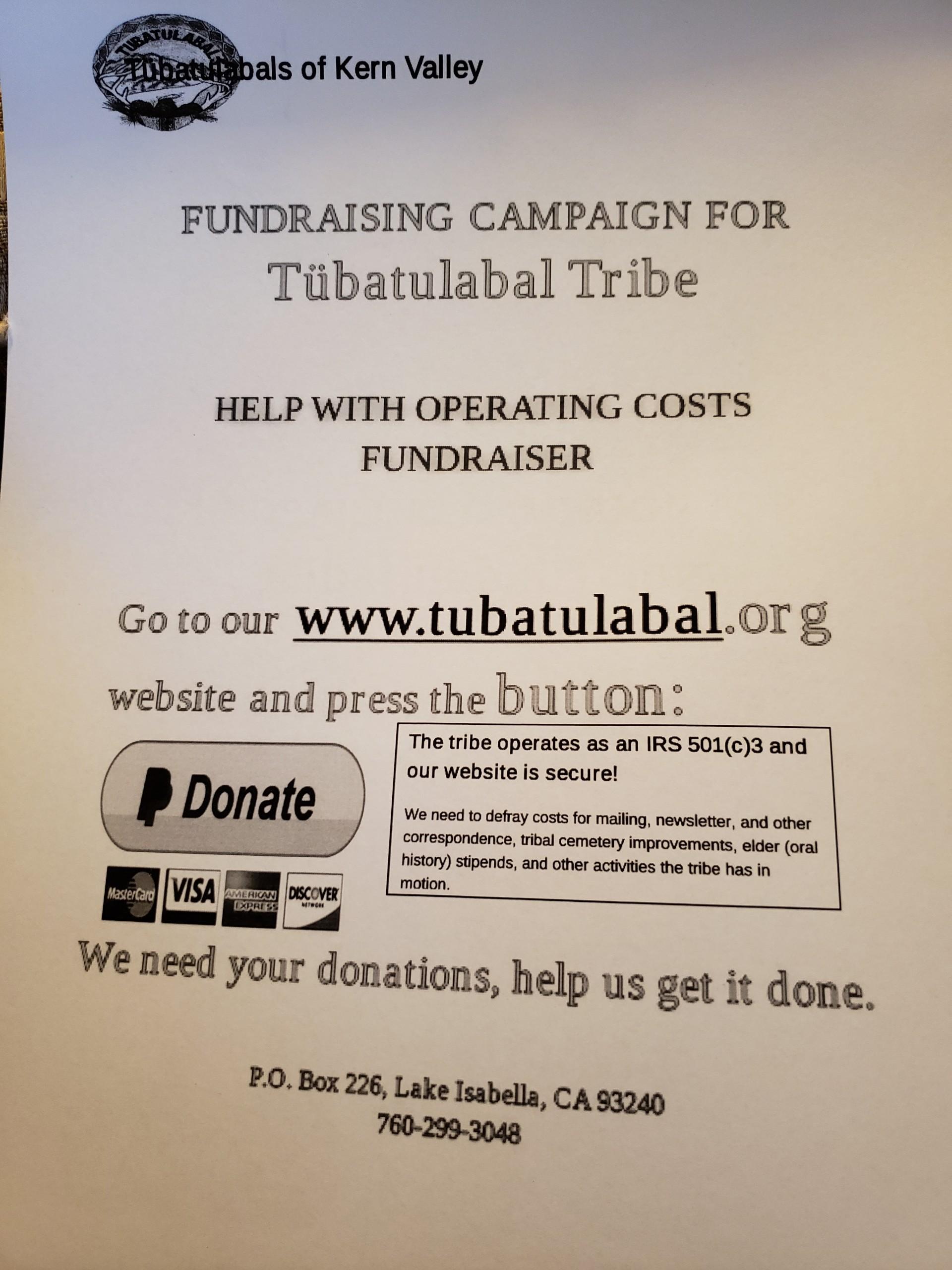 Tubatulabal Donation Campaign